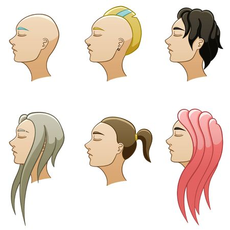 Set of six female hairstyles. Women's heads turned in profile. Hair of different colors. White background, vector.