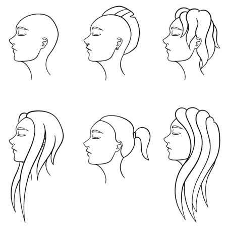 Set of six female hairstyles in lines. Women's heads turned in profile. Different haircuts. White background, vector. Archivio Fotografico - 130095218