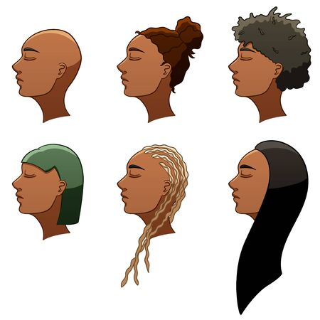 Set of six African American women hairstyles. Women's heads turned in profile. Hair of different colors. White background, vector. Archivio Fotografico - 130095222