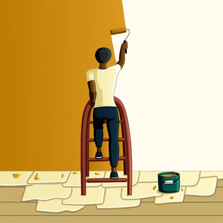 Black-haired African American man paints the wall in orange color standing on a stepladder in vector. The floor is covered with newspapers.  イラスト・ベクター素材