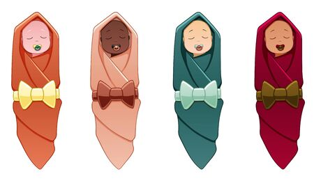 Four babies of different nationalities are in swaddling-clothes on a white background in the vector. Every child has a swaddle of his own color.