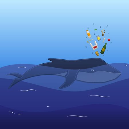 The whale lies on the blue ocean waves and spouts trash to the air in profile in vector. Ilustração