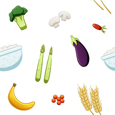Seamless pattern of broccoli, champignons, wild rose, wheat, cottage cheese, asparagus, eggplant, banana, red caviar on white background in vector. Ilustrace