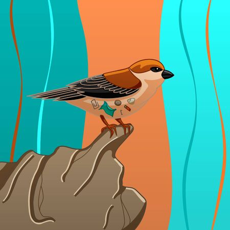 Sparrow with small trash inside it sits on a stone on a colored background in vector.