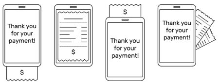 Set of smartphones (tablets) with the digital bill in lines. There is a dollar sign on the check. White background, vector.