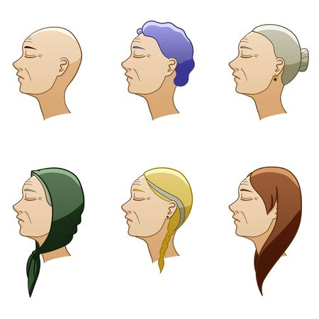 Set of six aged european women hairstyles. Womens heads turned in profile. Hair of different colors. White background, vector.