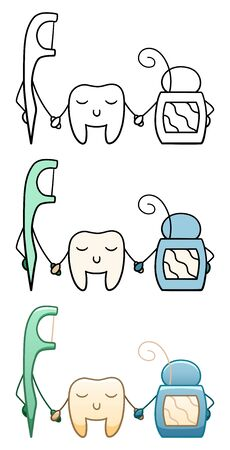 A tooth stands between two dental flosses and holds hands with them on a white background in vector. Flat style, line style.