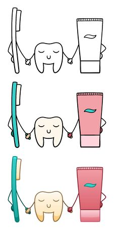 A tooth stands between toothbrush and toothpaste and holds hands with them on a white background in vector. Flat style, line style.