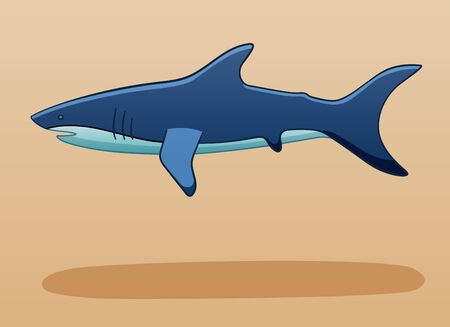 Blue shark levitates in the air on a beige background in vector. There is shadow below it on the ground.