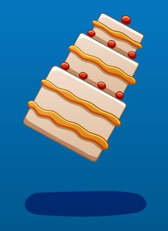 Three-story cream cake decorated with cherries soars in the air on a blue background in vector. There is shadow below it on the ground. Illustration