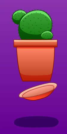 A cactus in a red pot levitates in the air. There is shadow below it on the ground. Purple background, vector. Illustration