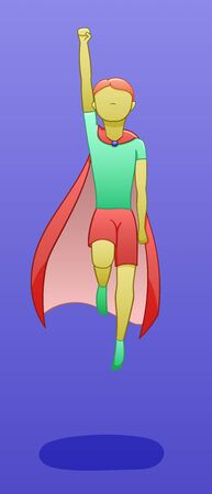 A yellow-skinned boy in a red cape levitates in the air in a superhero pose. There is shadow below him on the ground. Purple background, vector.