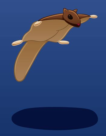 A flying squirrel levitates in the air. There is shadow below it on the ground. Blue background, vector.