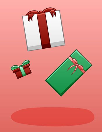 White, red and green gift boxes levitate in the air. Boxes tied with bows. There is shadow below them on the ground. Pink background, vector.