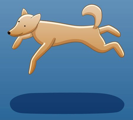 A beige dog levitates in the air. There is shadow below it on the ground. Blue background, vector.