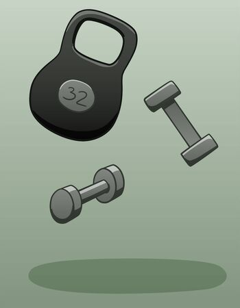 Gray dumbbells and kettlebell levitate in the air. Kettlebell weighs 32 kilograms. There is shadow below them on the ground. Gray background, vector. Illustration