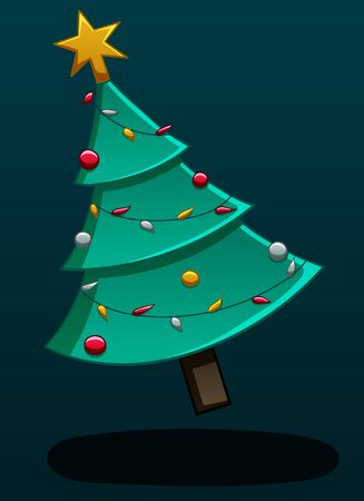 Christmas tree levitates in the air. The spruce is decorated with a garland, balls and a star. There is shadow below it on the ground. Dark blue background, vector. Ilustração