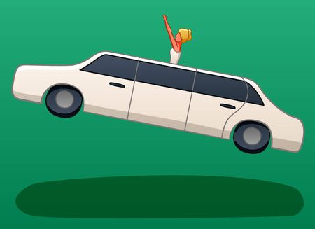 White limousine levitates in the air. A bride leaned out of the hole in the roof of the car and raised her hands above her head. There is shadow below them on the ground. Green background, vector.