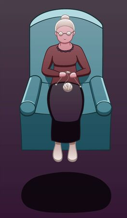 An elderly woman levitates in the air in the armchair and knitting. There is shadow below her on the ground. Purple background, vector.