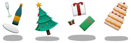 Set of levitating Christmas attributes: champagne, christmas tree, gift boxes and cake. There are shadows below them on the ground. White background, vector.