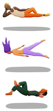 Set of levitating guy in orange pants, girl with purple hairs and guy with hat on his face. There are shadows below them on the ground. White background, vector.