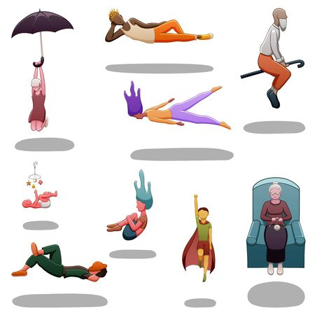 Set of nine levitating people of different sexes and ages. There are shadows below them on the ground. White background, vector.