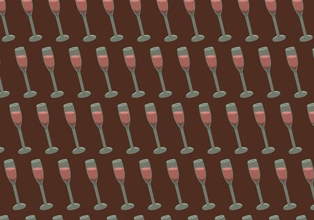 Pattern of wine glasses on a burgundy background. Vector.