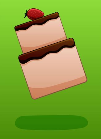 Two-story strawberry cake decorated with chocolate glaze soars in the air on a green background in vector. There is shadow below it on the ground.