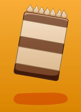 Chocolate cake decorated with cream soars in the air on a orange background in vector. There is shadow below it on the ground.