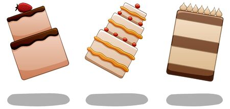 Set of three levitating cakes. The first cake is with strawberry, the second is three-story, and the third is chocolate. There are shadows below them on the ground. White background, vector.