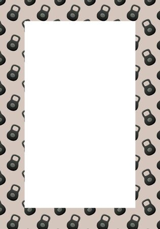 Vertical frame from a pattern with kettlebells of 32 kilograms on a beige background. White space in the center. Vector.