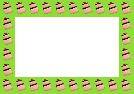 A rectangle frame made up of strawberry cakes. Green background, vector.