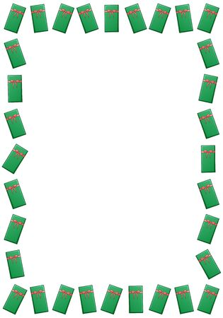 A rectangle frame made up of green Christmas gift boxes with red ribbons and bows. White background, vector.