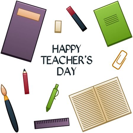 School supplies are located on a white background, in the center there is an inscription Happy Teachers day. Textbook, eraser, marker, notebook, brush, pencil, pen, straightedge. Vector,