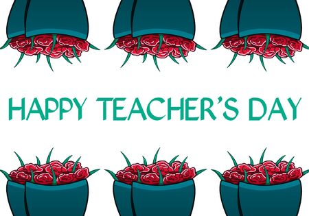 Flower bouquets and text in honor of teachers day