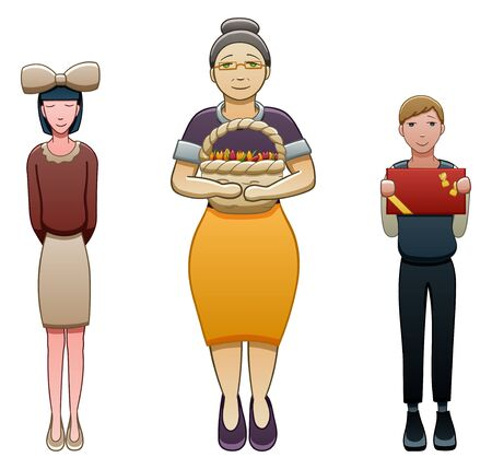 Elderly gray-haired female teacher and two students stand near each other. Black-haired girl is with big beige bow on her head, brown-haired boy holds box of chocolates. White background, vector. Иллюстрация