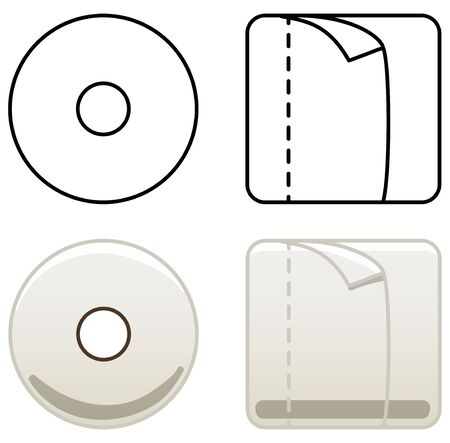 Beige toilet paper from two angles. Colored and line version. White background, vector.