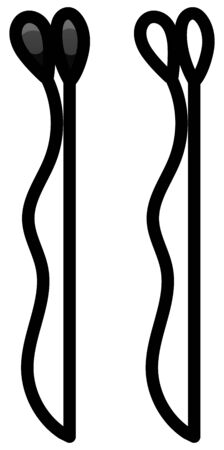 Black metal hairpin. Colored and line version. White background, vector.
