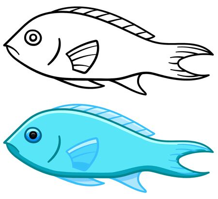 Damselfish in colored and line versions. White background, vector.