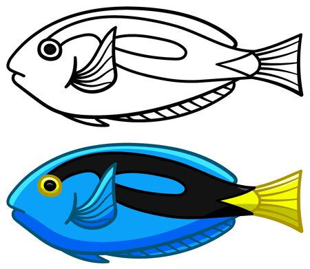 Surgeonfish in colored and line versions. White background, vector. Illusztráció
