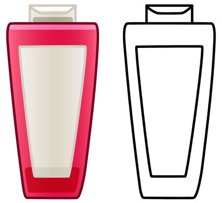 Pink shampoo bottle with empty beige label on it. Colored and line versions. White background, vector.