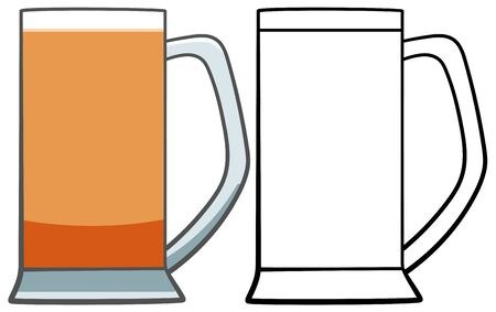 Glass of light beer with handle. Colored and line version. White background, vector.
