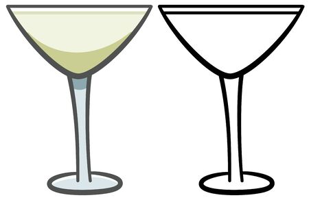 Glass of light green martini. Colored and line version. White background, vector. Çizim