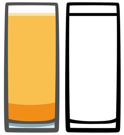 Glass of orange cold soda. Colored and line version. White background, vector.