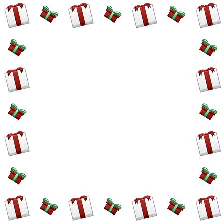 Square frame made of white Christmas gift boxes with red ribbons and bows and green boxes with green ribbons and bows. White background, vector.
