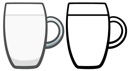 Glass mug with mineral water. Colored and line version. White background, vector.  イラスト・ベクター素材