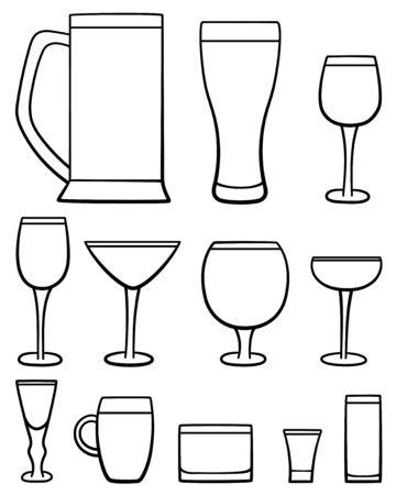 Set of twelve beverage glasses in lines. White background, vector. Ilustração
