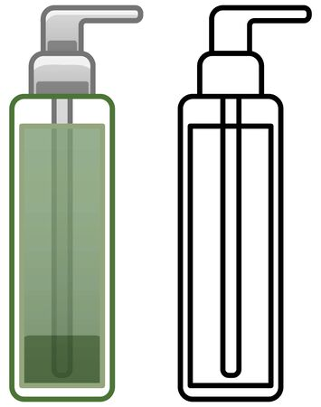 Bottle of green cleanser with beige cap. Colored and line versions. White background, vector. Illustration