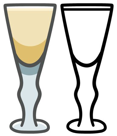 Full glass of sherry. Colored and line version. White background, vector. Çizim