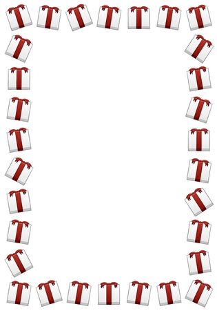 Rectangle vertical frame made of white Christmas gift boxes with red ribbons and bows. White background, vector. Stock Illustratie